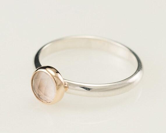Engagement Ring- White Topaz Solitaire Ring- Sterling Silver Engagement Ring 14k gold -Wedding Ring- Alternative Diamond Engagement Ring