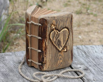 Rustic wedding guest book Wood Small journal with heart and arrow