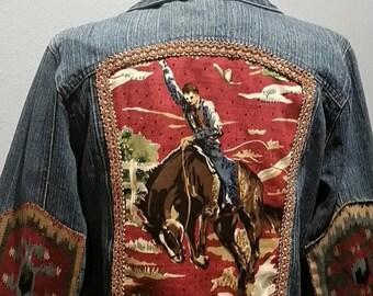 Demin Jacket Hand Embellished / Southern Demin Jacket / OOAK Demin Jacket / Hand beaded Demin Jacket / Southwest Demin Style Jacket