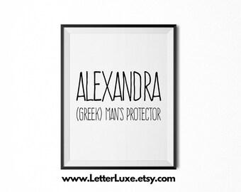 Alexandra Name Meaning Art - Printable Baby Shower Gift - Nursery Printable Art - Digital Print - Nursery Decor - Typography Wall Decor