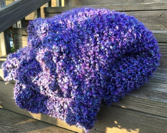 Luxuriously soft knit Afghan; purple throw blanket