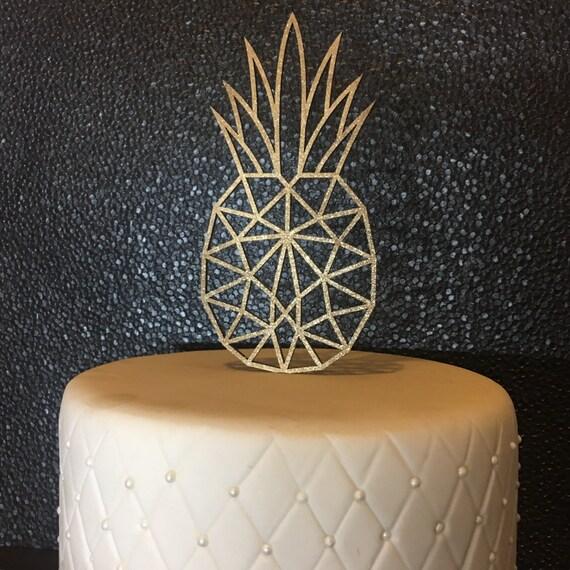 Hawaiian Cake Topper, Hawaiian Decor, Hawaiian Party, Pineapple Cake Topper, Tropical Cake Topper, Geometric Cake, Summer Party Cake