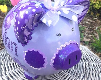 Large Personalized and Custom Painted Piggy Bank, Jumbo Size Bank, Huge Piggy Bank, Purple Piggy Bank, MADE TO ORDER