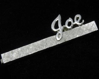 JOE Name Swank Tie Clip Bar Silvertone