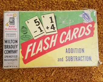 Vintage Milton Bradley Flash Cards, Addition and Subtraction, Free Shipping