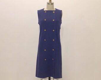 Vintage 1960s Dress | Military Sleeveless Dress | Marley | Medium