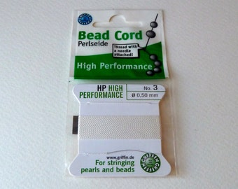 White Nylon Griffin Beading Cord Size 3 with Needle Attached - High Performance Bead Cord
