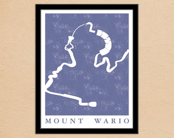 Mario Kart 8 Mount Wario Race Track Map Poster | Super Mario Gamer Gift | Super Mario Kart Map Print | Video Game World Map Art Poster