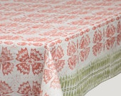 Block printed  white linen tablecloth, lino block printed Sweet William in folk style, eco friendly