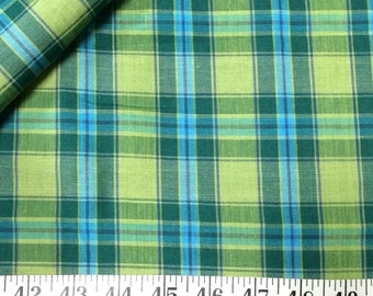Cotton Fabric / Green Cotton Fabric / Plaid Cotton Fabric / Vintage Fabric / Vintage Plaid Fabric / Green Plaid Fabric / Blue and Green