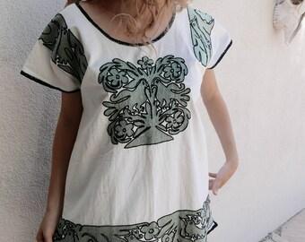 "SALE Oaxaca huipil blouse embroidered Ayautla sage green floral birds boho Mexican resort tunic Frida Kahlo  22'W X 28""L MEDIUM"