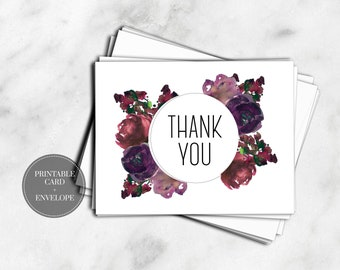 PRINTABLE Thank You Cards DIGITAL DOWNLOAD Purple Watercolor Flowers Floral Wedding Baby Shower Greeting Cards // GC116
