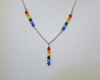 "Swarovski Crystal Rainbow Necklace - Several Colors Available - 18"" Long"