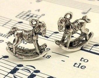 Rocking Horse Charm - 24 pcs. -  Rocking Horses - Antique Silver Charms - Animal Charms - 3D Charms - Two Sided Charms - Silver Charms