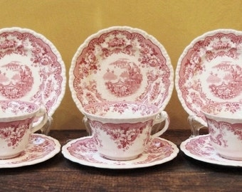 Vintage Red and White Ironstone Cup, Saucer and Side Plate Trio's, English. 3 sets.