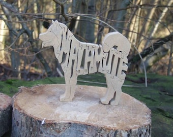 unique wooden gift, from a dog, freestanding decor,  Alaskan Malamute, pet silhouettes, Jigsaw, doggie gift, puzzle for adult, wooden,