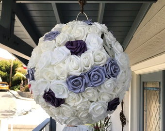 Wedding Pinata Lilac and White  Pomander Guest Book Alternative Medium