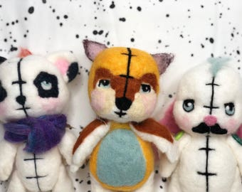 Woolie Nomiies, plushie, cute, bunny, panda, fox, handmade and one-of-kind by Nomiie Nation