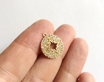 1pc Matte Gold  plated Circle Star Small Charm-18x15mm-(017-063GP)