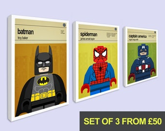 Superhero prints, Set of 3 Canvas prints, Superhero Wall Art, Childrens Bedroom Art, Nursery Wall Art, Boys Bedroom Art, Childrens Wall Art