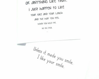 Awkward love  card- This doesn't mean I like you