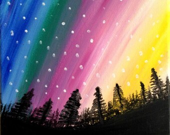 Northern Lights Acrylic painting canvas art Cosmic night sky painting Wall decor Alaska Aurora Borealis Wall art colorful art Christmas sale