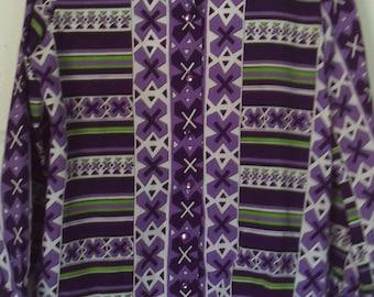 70's Blouse Secretary Shirt Spear Point Collar Top Lady Arrow Polyester Blouse Size Medium Geometric Print Button Down Retro Blouse