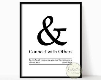 Ampersand Printable, Ampersand Instant Download, Printable Quote, Typography, Wall Art, Wall Decor, Printable Art