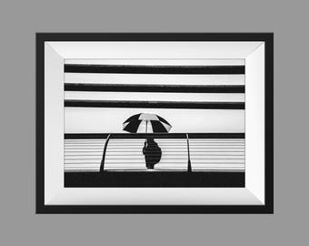 London photography, street photography, London rain prints,  fine art photography, black and white, London prints, rainy London, umbrella
