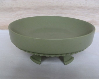 Vintage 1960s Hyalyn Pottery 458 Two Piece Ceramic Compote Green