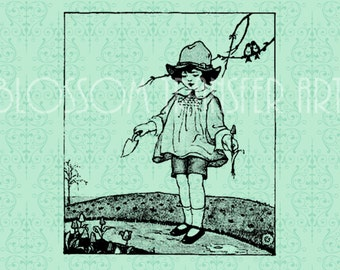 Girl Vintage Digital Images - Iron on fabric, pillows, totes  - Download for papercrafts - Printable Images - DIY - 1907