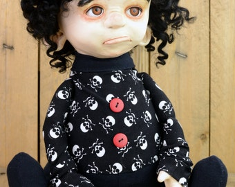 FREE SHIPPING ooak gothic art doll CHARLOTTE artist doll cute handmade doll black collectible clay doll one of a kind dolls