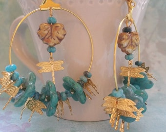 Turquoise and buterflies earrings