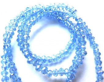 20 3/4 MM IRIDESCENT ICE BLUE GLASS OVAL BEADS