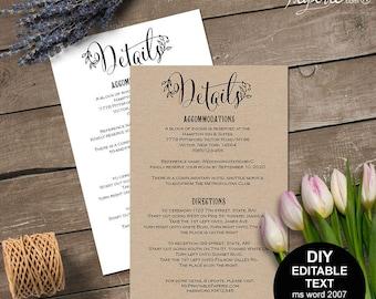 wedding details card, wedding detail, rustic wedding details, wedding information card, printable, DIY, editable text, rustic, S11MR3