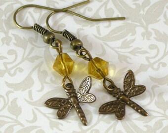 Dragonfly Earrings - Topaz