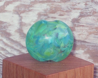Handmade Glass Lampwork Lentil Focal Bead - Variegated Sea Green and Turquoise