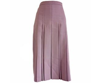 Vintage Pleated Skirt Purple Midi 70s Lavender Size Small