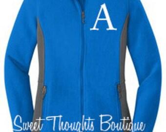 Womens Monogrammed Fleece Jacket, Monogram Jacket, Colorblock Fleece Jacket, Lightweight Jacket, Full Zip Jacket, Ladies Fleece Jacket
