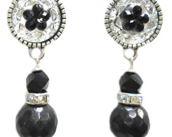 Black Faceted Jade Gemstone Crystal Roundel Resin Flower Bead Silver Earring Set