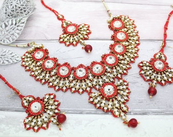 Red Gold Indian Bollywood Choker Necklace Set with Earrings, Tikka Headpiece & Jhoomer Bridal Wedding