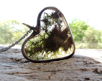 raw, Real Moss Necklace, terrarium necklace, dried moss,Real moss necklace, botanical,science jewelry ,natural specimen ,real plant jewelry