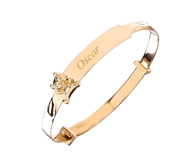 9ct Yellow Gold Teddy Bear Baby Identity Bangle - Personalised Name & Message