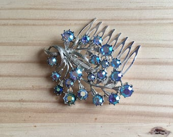 Blue Hair Comb: Blue AB 1950s Flower Wedding/Costume Comb