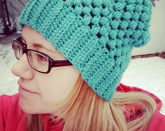 Women's Adult Winter Hat / Beanie / Blue / Teal / Grey / Crochet / Puff Stitch / Slouchy / Cold Weather Apparel / Fashion