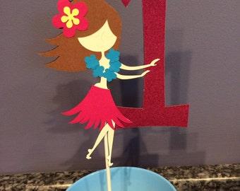 Luau Hula Girl with Age Cake Topper