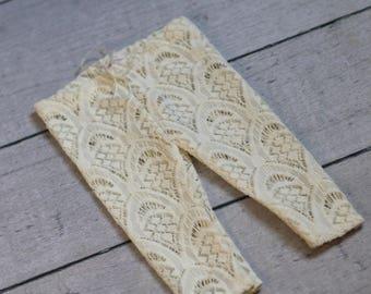 Lace Pants /Newborn Girl Lace Leggings / Cream