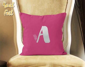 Silver foil pillow, Personalized pillow, Monogram pillow, Decorative pillow, Birthday gift, Christmas gift for her, Custom pillow, FPfp004S