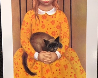 "Vintage Margaret Keane Walter Keane Greeting Card Big Eyes ""The Bored Guest"" Girl with Siamese Cat 1963 & 1985 Mid Century Mod Art"