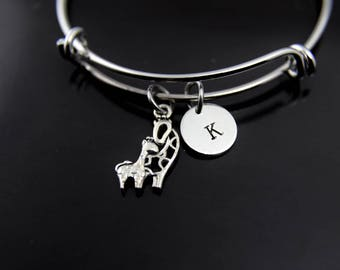 Giraffe Bracelet Silver Giraffe Charm Bangle Giraffe Jewelry Expandable Bangle Personalized Bangle Initial Charm Initial Bangle